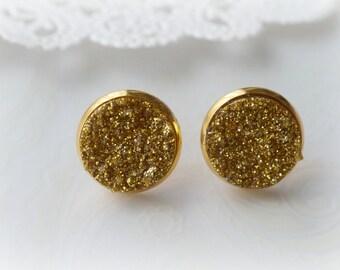 Gold Faux Druzy Stud Earrings
