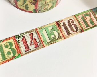 Green Red Yellow Brown Fancy Christmas Numbers Calendar Christmas Count Down 1 Through 25 Washi Tape 11 yards 10 meters 15mm