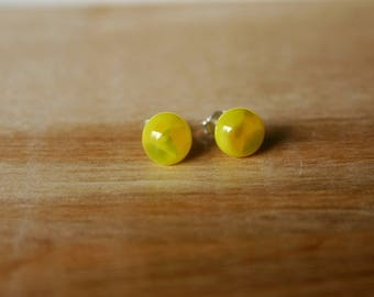 Sunny Fern- fused glass studs