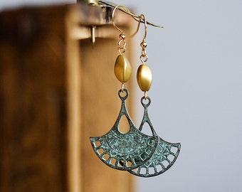 Filigree Boho Earrings Twisted Beads Verdigris Patina Tribal Dangle Earrings Bohemian Jewelry Gypsy Earrings Southwest Ethnic Jewelry - E334