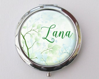 Spring Wedding Bridesmaid Gift, Personalized Compact Mirror
