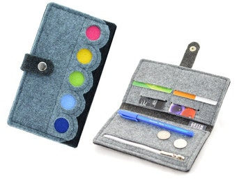 Grey Felt Wallet with a colorful dots, anthracite, modern, eco, Rainbow, MIDI size