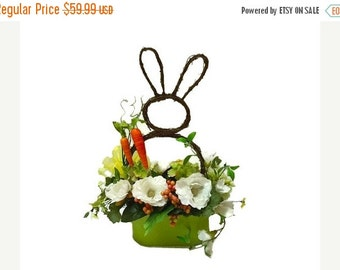 ON SALE Easter Centerpiece Easter Bunny Floral Arrangement Easter Silk Floral Arrangement Grapevine Bunny Floral Spring Centerpiece Easter D