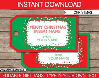 Christmas Gift Tags - Printable Christmas Tags - Merry Christmas Gift Tags - Custom Christmas Gift Tags - INSTANT DOWNLOAD - EDITABLE text