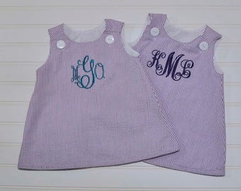 Matching sister Seersucker Dress, Girls A-line Dress, Purple Classic Jumper, can be monogrammed with add on...3m,6m,9m,12m,18m,2t,3t