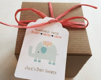 25 Baby shower favors -  Elephant Plantable seed paper favors - Boxed personalized favors - assembly required -