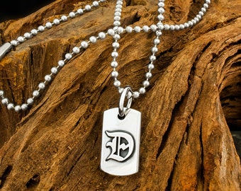 Reversable Handmade 925 Sterling Silver Dogstone Crypt 'D' Dog Tag Pendant on a Ball Chain Necklace