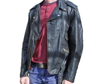"Vintage Leather Biker jacket Perfecto Style Punk HONDA - S M 36"" 38"" (26082)"