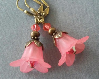 Apricot Pink Lucite Flower and Swarovski Crystal Earrings
