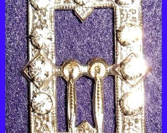 Victorian Art Deco Rhinestone Shoe Buckle, Silver Plated, Jewelry, Bracelet, Pendant, Junk Journals