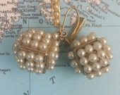 VINTAGE PEARL CUBES pierced Victorian earrings