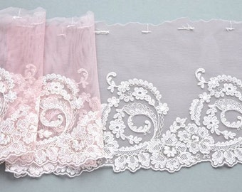 Pink Blush Lace Trim, Light Pink Flowered Lace, Pale Pink Embroidered Lace, Lingerie, Lace Crafts, Dolls, Mantilla