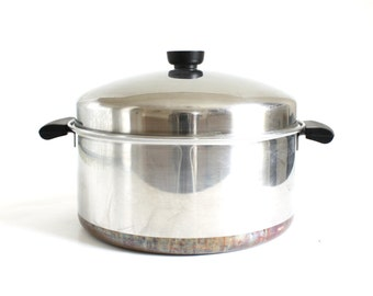 Revere Ware Dutch Oven 6 qt Stockpot with Dome Lid, Riverside California, with Process Patent Number