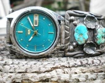 Vintage Watch Navajo Turquoise Stone Silver Seiko Mens