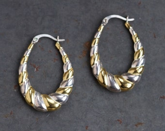 Hoop Earrings - Sterling Silver Scalloped Stripes in Gold and Silver - Vintage 80s Fashion Jewelry