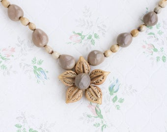 Flower Boho Necklace - Job's Tears Seeds Necklace - Off White Coix Seeds - Long Beaded Necklace - Natural Jewelry