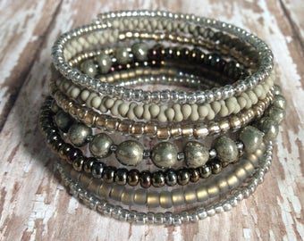Memory Wire Bracelet in Shades of Dark Gold, Taupe, Brown Glass Seed Beads and Pyrite Chip Beads- Fool's Gold