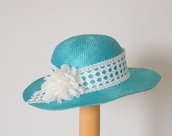 light blue wide brim straw hat for women,  ladie's summer hat, turquoise sun protection hat UK,  Israel, Australia
