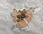 Heart Peach Dollie With Satin Ribbon Roses, Embellishments, Appliqué, Sewing, Scrapbooks, Journals