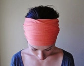 CORAL Head Scarf - Extra Wide Hair Wrap - Bohemian Jersey Headband - Lightweight Yoga Headband - Womens Hair Accessories - Workout Wear