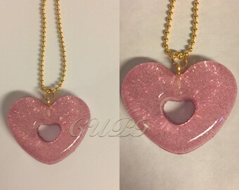 FREE SHIPPING for USA Pink Vintage Glitter Heart Necklace Handmade