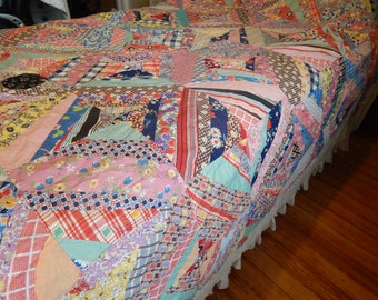 Vintage Antique Handmade Feed Sack Unfinished Quilt Top Crazy Quilt