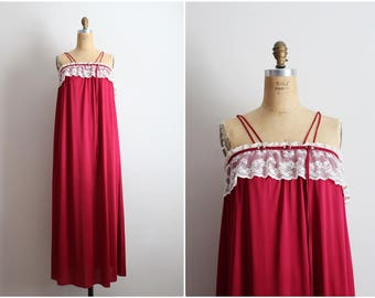 Vintage 70s Burgundy Peignoir Set / Lace Slip Dress / Wedding Nightgown /Lace Collar Lingerie / One Size