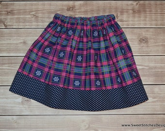Christmas Skirt Snowflake Skirt READY TO SHIP 3T & 4T Girl Holiday Toddler Skirt Christmas Outfit Skirt for Girls Navy and Pink