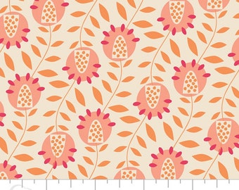 05031 -Camelot Fabrics Gypsy Lane Floral in peach and cream  - 1 yard