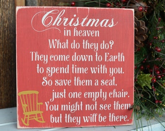 Christmas In Heaven Poem with Chair - Christmas In Heaven Wood Sign - Christmas Wood Sign - Christmas Gift - Christmas Decor - Heaven Sign