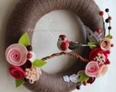 "Spring Pink Bird Yarn Wreath - 10"""