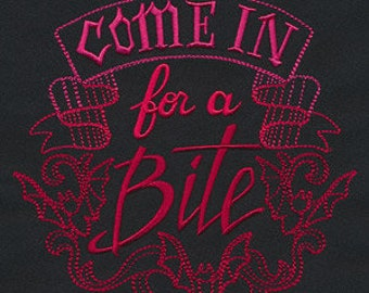 Come in For a Bite Embroidered Flour Sack Hand Towel