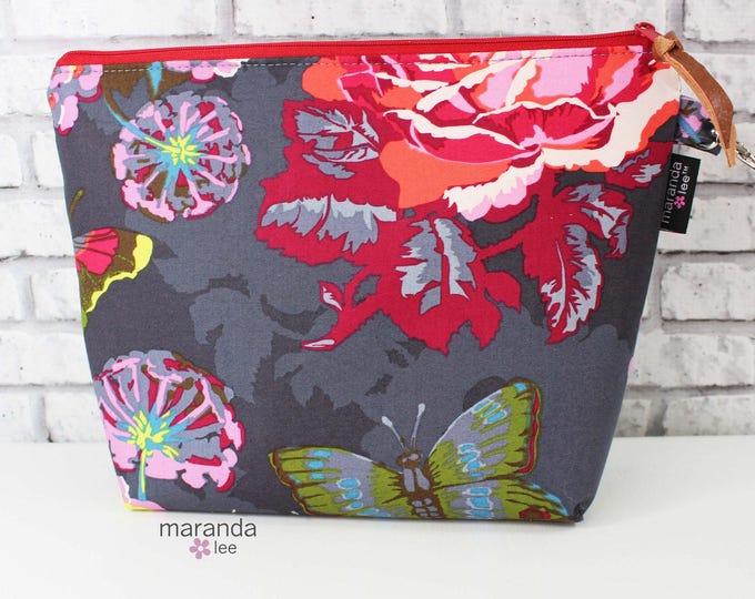 Ava Large Clutch -Lu Lu Ti  READY to SHIp Cosmetic  Diaper bag Travel Make Up Zipper Pouch