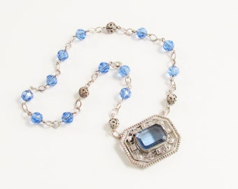 Vintage Art Deco Czech Necklace Blue Glass 1920s Antique Jewelry