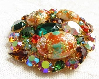 Vintage Large Juliana Easter Egg Cabochon Fruit Salad Rhinestone Brooch Book Piece Verified