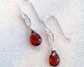 HOLIDAY SALE Minimalist Genuine Red Garnet and Sterling Silver Drop Earrings - Red Gemstone Earrings - January Birthstone - Delicate Sterlin