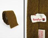 Vintage 50s Rooster Heatherloom Tie Gold Drab Necktie Square Skinny Flat End