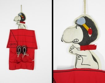 Vintage Snoopy Shoe Bag Caddy Red Baron Sneaker Holder 1970
