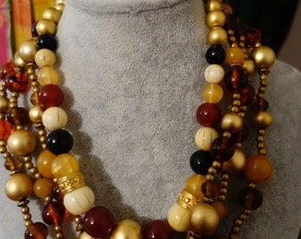 GORGEOUS colors gold amber ivory 2 necklaces LC Liz Claborne