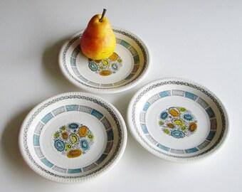 Vintage, Kathie Winkle, Corfu, Side Plate, Plate Set, Orange, Turquoise, Yellow, Hand painted, Broadhurst, Ironstone, Riviera Shape, Flowers