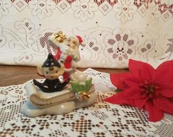 Vintage Porcelain Christmas Decor Santa Elf Sleigh Figurine Japan Black Pixie Collectible Christmas Decoration