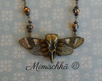 necklace cameo skull bird butterfly
