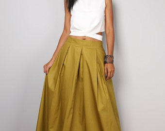 Maxi skirt - Long skirt - Floor length olive green maxi skirt : Feel Good Collection No.3