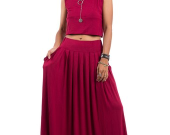 Red Skirt -  Long Wine Red Skirt - Maxi Skirt : Urban Chic Collection No.2