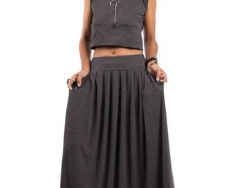 Maxi Skirt - Grey Skirt-  Long Top Grey Skirt : Urban Chic Collection No.2