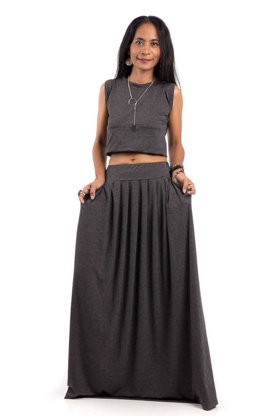 maxi skirt grey skirt top grey skirt chic