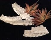 Vintage Crocheted Lace  Pillow Edging, Lace Trim, Ivory Lace, Country Lace, Vintage Crochet, Crocheted Lace