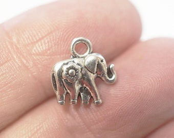 10 Metal Antique Silver Elephant Charms - 12mm