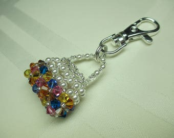 Crystal Purse Charm or Zipper Pull in Brights
