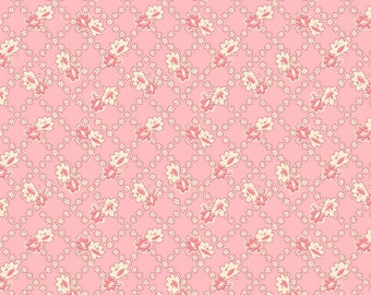 Spring Showers - Pink Floral Lattice by Kaye England from Wilmington Prints